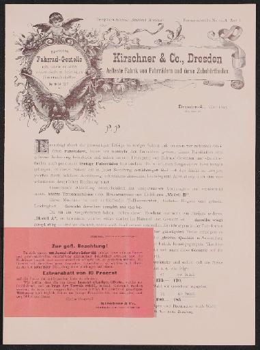 Kirschner u. Co. Dresden Händlerinformation und Prospekt 1895