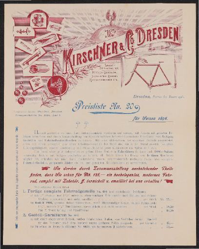 Kirschner u. Co. Dresden Preisliste und Humber Fahrradgestelle 1896