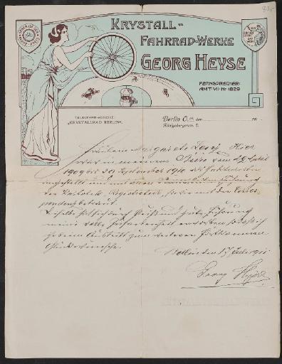 Krystall Fahrrad-Werke, Anschreiben 1911