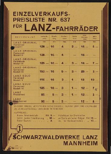 Lanz Schwarzwaldwerke Preisliste 1927