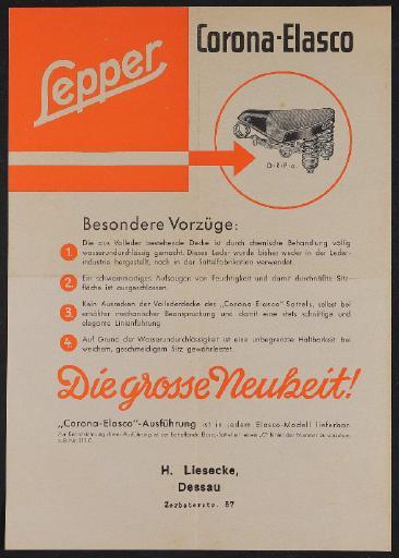 Lepper Corona-Elasco Sattel Werbeblatt 1935