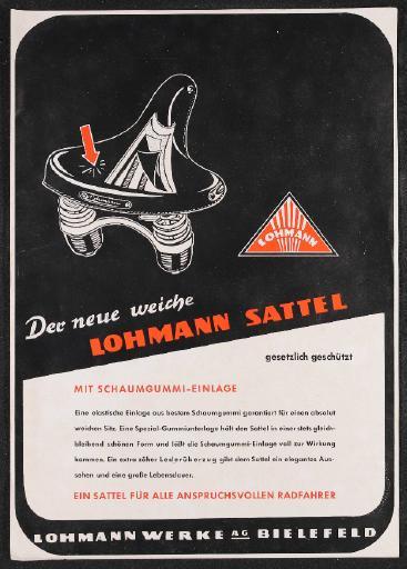 Lohmann Der neue weiche Lohmann Sattel Werbeblatt 50er Jahre