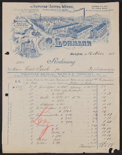 Lohmann Sattelwerke, Rechnung 1904
