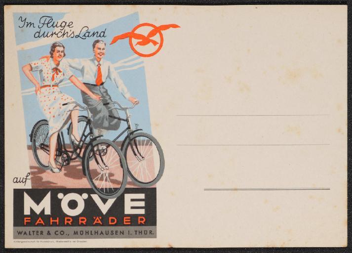 Möve Fahrräder Im Fluge durchs Land Postkarte 30er Jahre