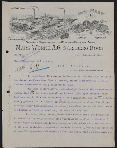 Mars Fahrradwerke, Antwortschreiben 1907