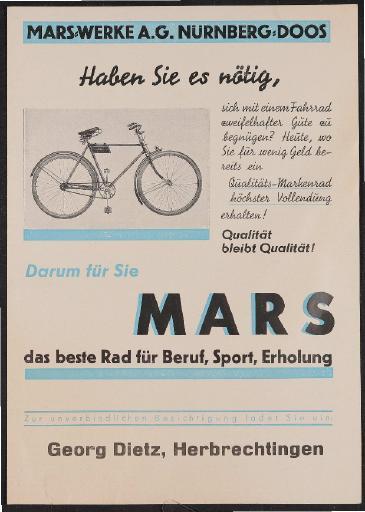 Mars-Werke Prospekt 1930er Jahre