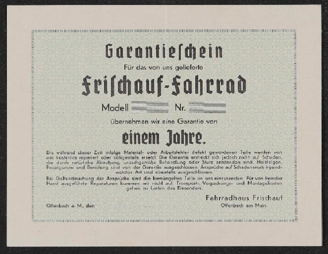 Mayweg Frischauf Garantieschein 1930er Jahre