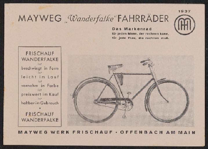 Mayweg Werk Frischauf Fahrräder Faltblatt 1937