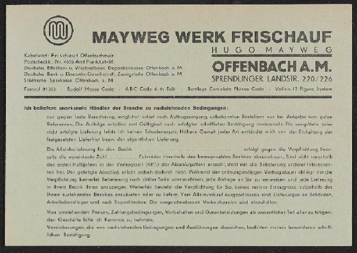 Mayweg Werk Frischauf Preisliste Fahrräder 1936