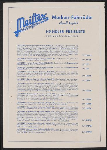 Meister Preisliste 1952
