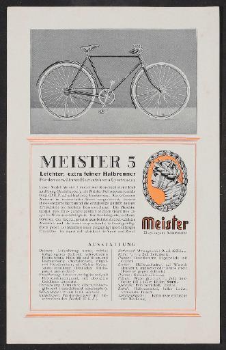 Meister, Halbrenner, Werbeblatt 1920er Jahre