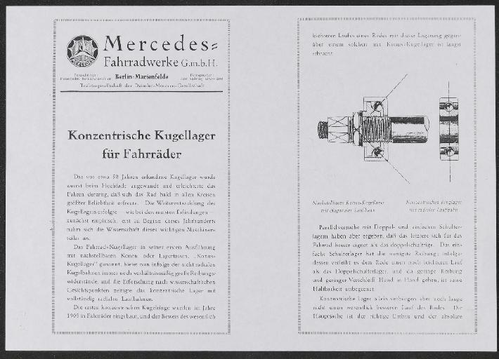 Mercedes Fahrräder Info-Blatt  1920er Jahre