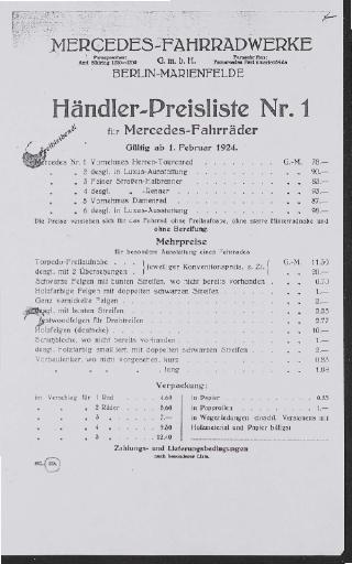 Mercedes Fahrräder Preislisten Kopien 1920er Jahre