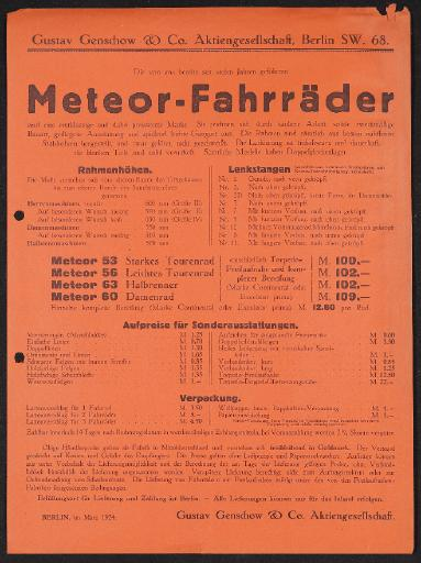 Meteor-Fahrräder Preisliste und Prospekt 1924