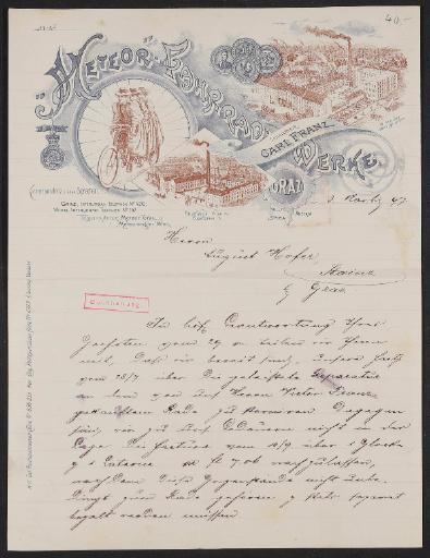 Meteor-Fahrradwerke, Schreiben (handschriftlich) an Kunden 1897