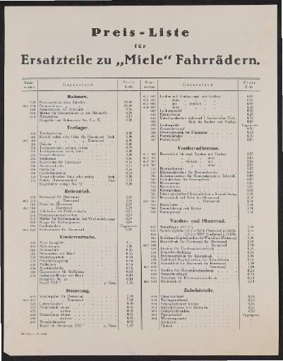 Miele Ersatzteil-Preisliste 1925
