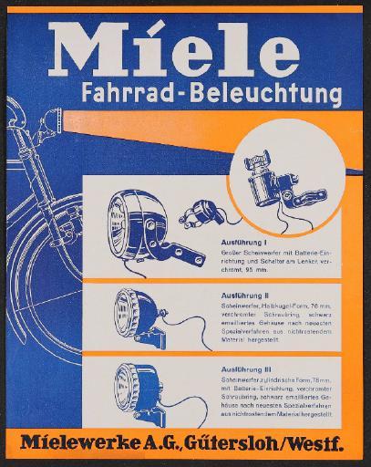 Miele Fahrrad-Beleuchtung Werbeblatt 1933