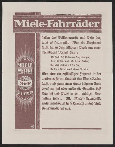 Miele Werbeblatt 1928 (2)