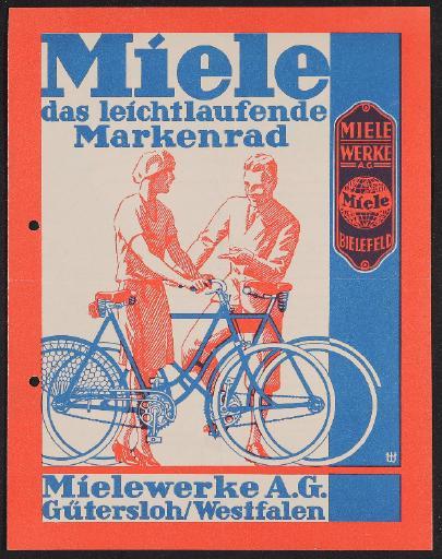Miele das leichtlaufende Markenrad Prospekt 1929
