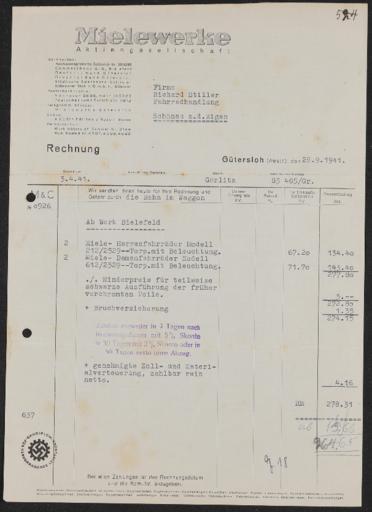 Mielewerke Rechnung 1941
