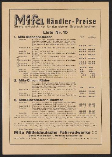 Mifa Preisliste 1934