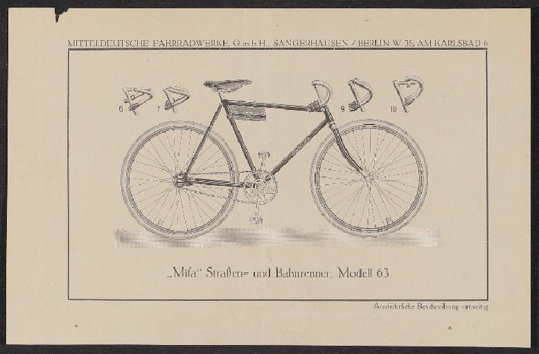 Mifa Werbeblatt 1920er Jahre