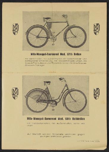 Mifa Werbeblatt 1930er Jahre