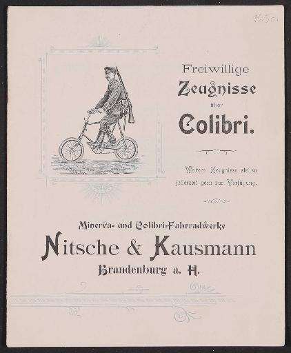 Minerva u. Colibri Fahrradwerke, Kundenzeugnisse 1897