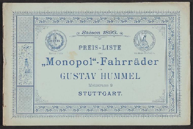 Monopol-Fahrräder, Katalog 1893