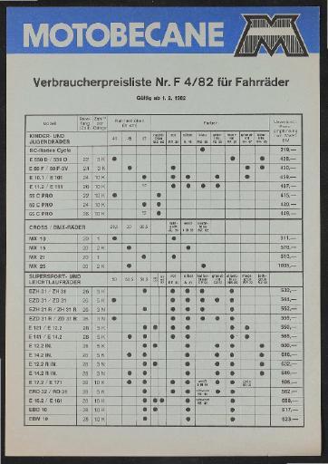 Motobecane Verbraucherpreisliste 1982