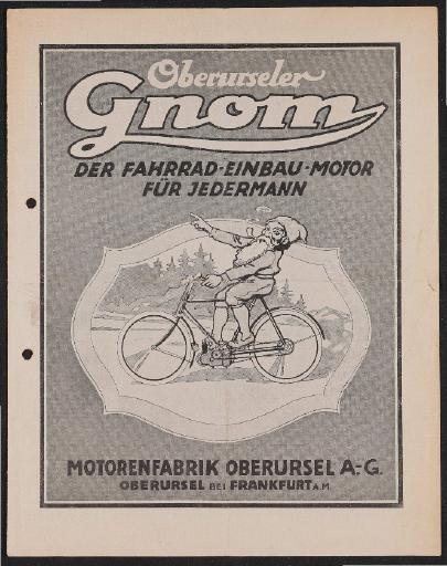 Gnom Fahrrad-Einbau-Motor Prospekt und Händler Infomaterial 1921