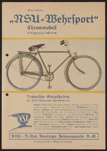 NSU Chrommodell Werbeblatt 1930er Jahre