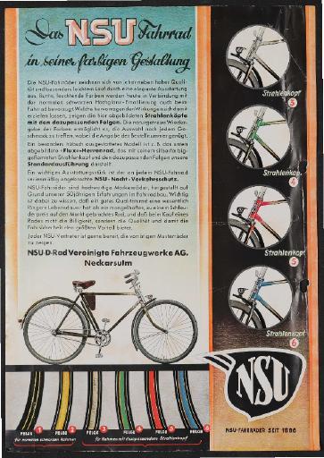 NSU Fahrräder  Werbeblatt 1936