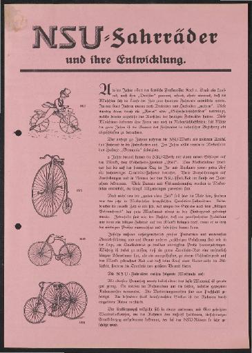 NSU Fahrräder und ihre Entwicklung Werbeblatt 1930er Jahre