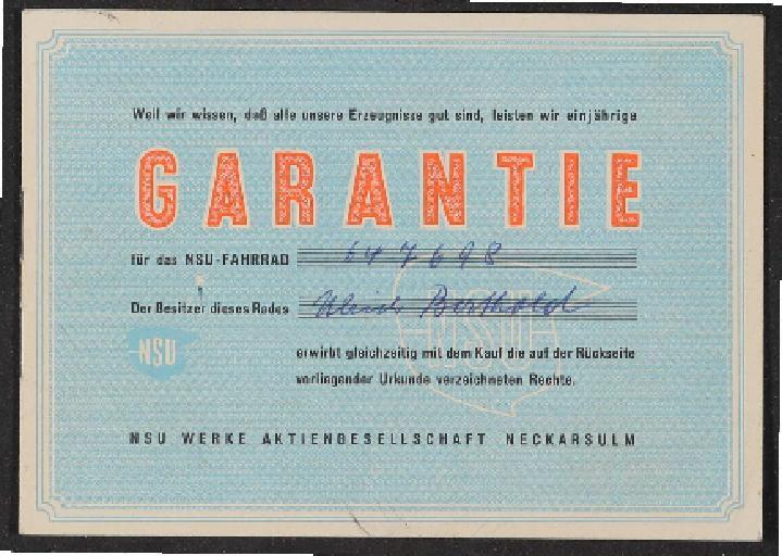 NSU Garantieheft 1956