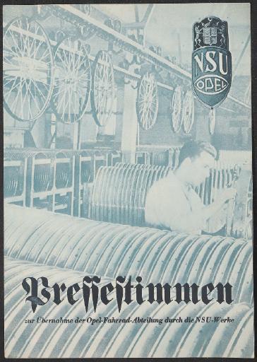 NSU Opel Vereinigung Pressestimmen 1936