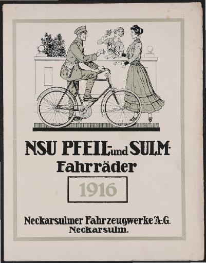 NSU Pfeil- und Sulm- Fahrräder Faltblatt 1916