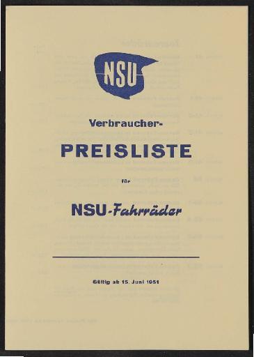 NSU Preisliste 1951