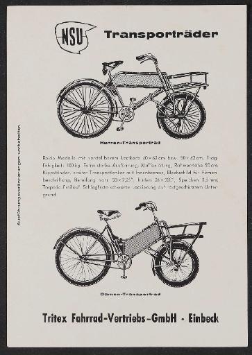 NSU Transporträder Werbeblatt 1960er Jahre