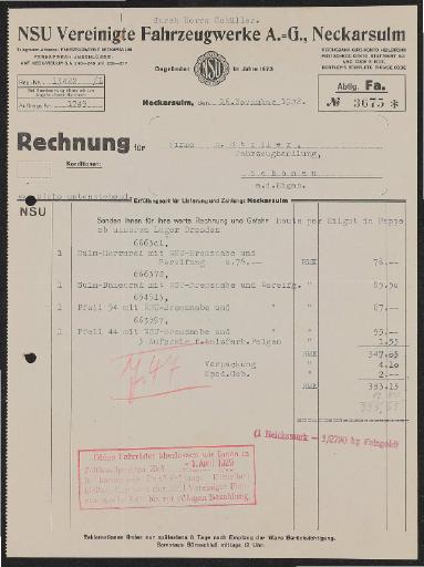 NSU Vereinigte Fahrzeugwerke A.G. Rechnung 1928