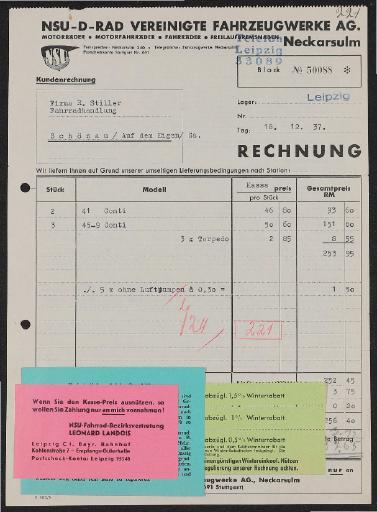 NSU Vereinigte Fahrzeugwerke A.G. Rechnung 1937