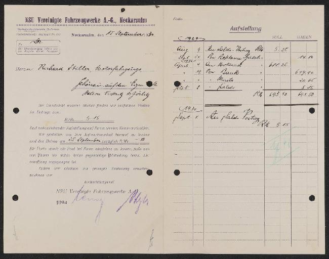 NSU Vereinigte Fahrzeugwerke A.G. Zahlungsmahnung  1930