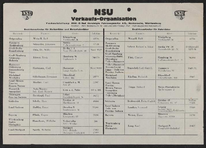 NSU Verkaufsorganisation Infoblatt 1930er Jahre
