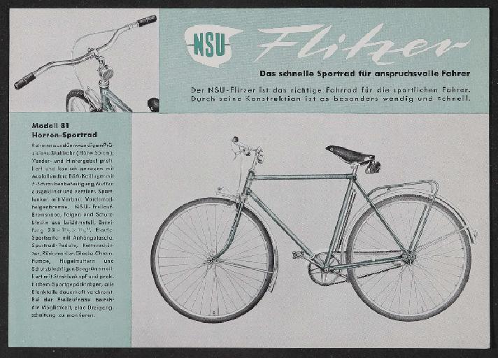 NSU Werbeblatt 1950er Jahre