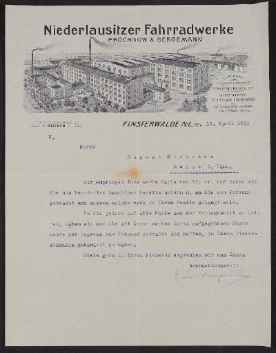 Niederlausitzer Fahrradwerke, Anschreiben an Kunden 1913