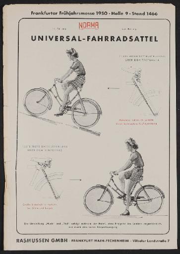 Norma, Universal-Fahrradsattel, Werbeblatt 1950