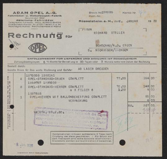 Adam Opel A.G. Fahrradabteilung Rechnungen 1930er Jahre