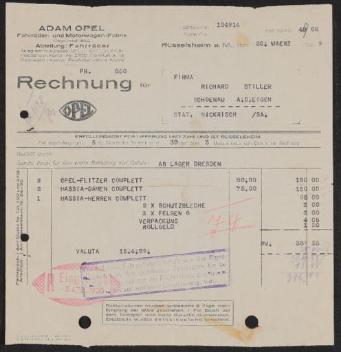 Adam Opel Fahrräder- und Motorwagen Fabrik Rechnung 1929