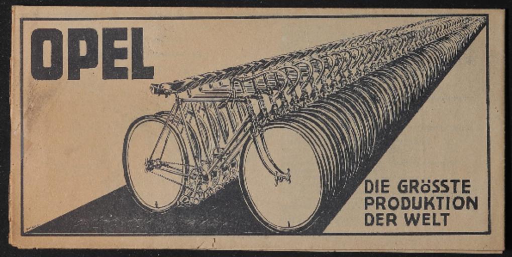 Opel Fahrräder Faltblatt 1920er Jahre