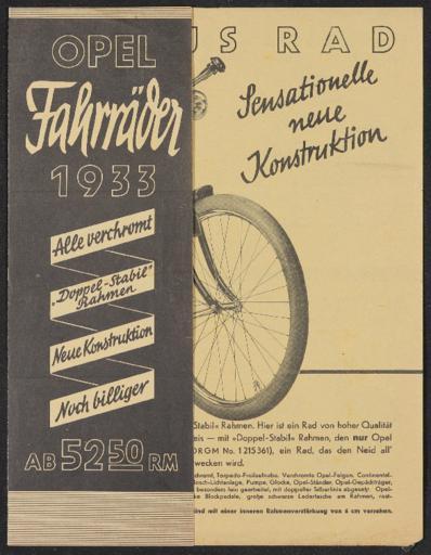 Opel Fahrräder Faltblatt 1933